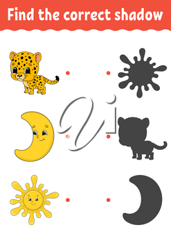 Find the correct shadow. Draw a line. Education developing worksheet. Game for kids. Activity page. Puzzle for children. Riddle for preschool. Isolated vector illustration. Cartoon style