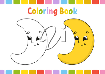 Coloring book for kids. Cheerful character. Vector illustration. Cute cartoon style. Hand drawn. Fantasy page for children. Isolated on white background