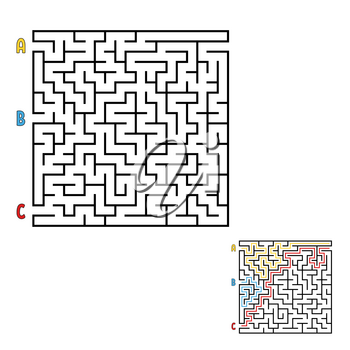 Abstract square maze. Game for kids. Puzzle for children. Find the right way to the exit. Labyrinth conundrum. Flat vector illustration isolated on white background. With the answer