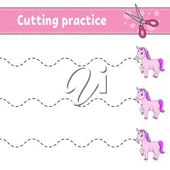 Cutting practice for kids. Fairytale theme. Education developing worksheet. Activity page. Color game for children. Isolated vector illustration. Cartoon character.