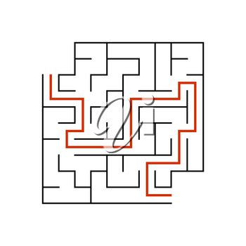 Black square maze with entrance and exit. An interesting game for children. Simple flat vector illustration isolated on white background. With a place for your drawings. With the answer