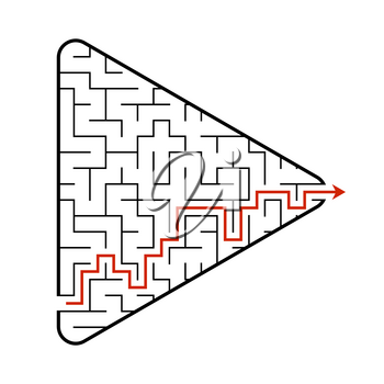 Labyrinth in the shape of an arrow. Game for kids. Puzzle for children. Find the right path. Maze conundrum. Flat vector illustration isolated on white background. With answer