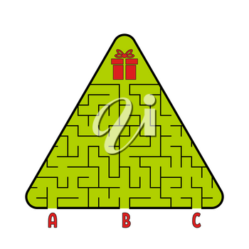 Abstract triangular labyrinth. Christmas tree with a gift. Find the right path. Game for kids. Puzzle for children. Labyrinth conundrum. Flat vector illustration isolated on white background