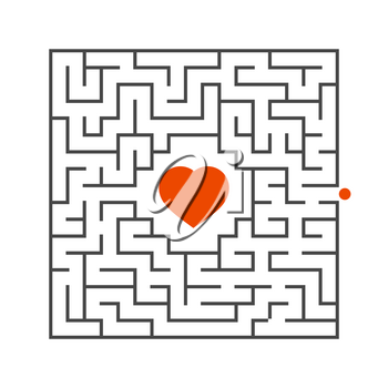 Abstract square maze. Game for kids. Puzzle for children. One entrance, one exit. Labyrinth conundrum. Flat vector illustration isolated on white background. Concept of love