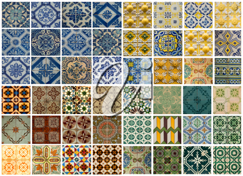 Collage of different colored pattern tiles in Lisbon, Portugal