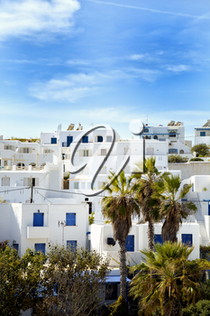 Panorama of Naoussa houses at Paros island in the Cyclades, Greece