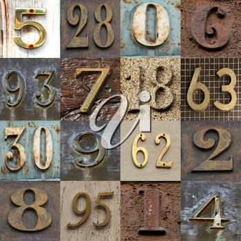 Collection with different numbers in different metal colours tones and patterns