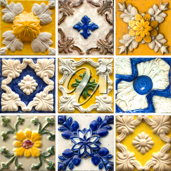 Photograph of traditional portuguese tiles in blue and yellow with relief